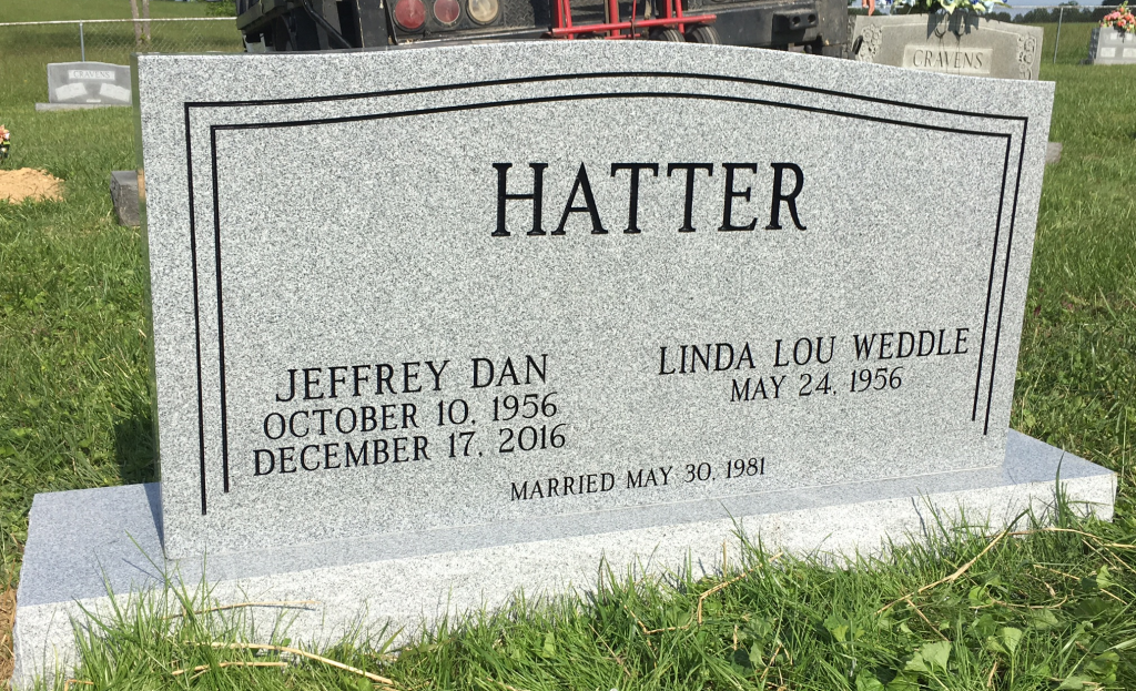 Headstone for Jeff and Linda Hatter