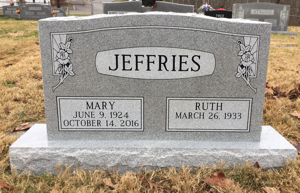 Headstone for Mary and Ruth Jeffries