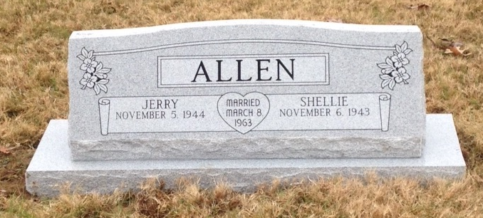 Double slant marker with base for Jerry and Shellie Allen