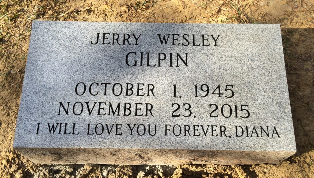 Bevel granite marker for Jerry Gilpin