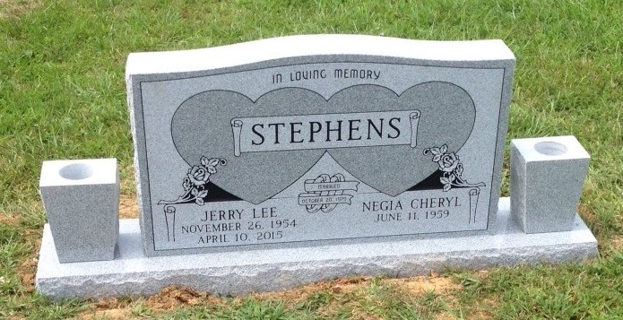 Headstone for Jerry and Negia Stephens