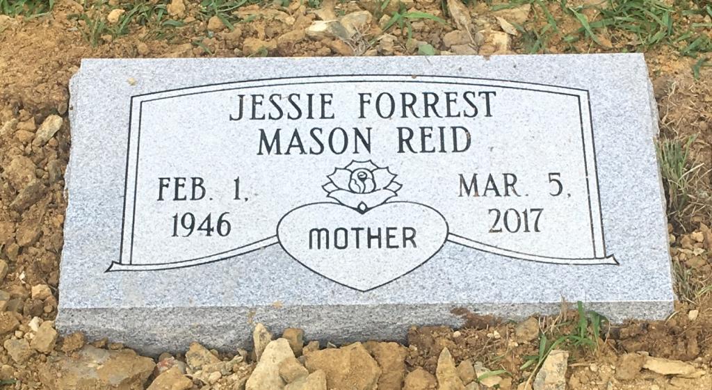 Flat granite marker for Jessie Mason Reid