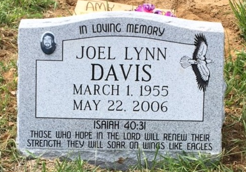 Granite slant marker for Joel Lynn Davis