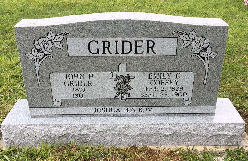 Headstone for John and Emily Grider