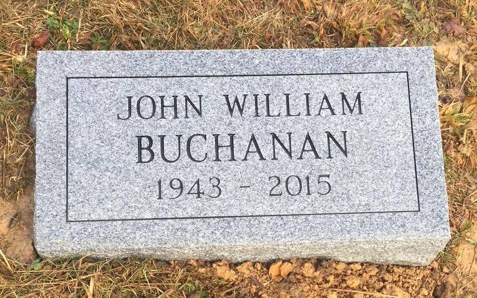 Granite bevel marker for John William Buchanan