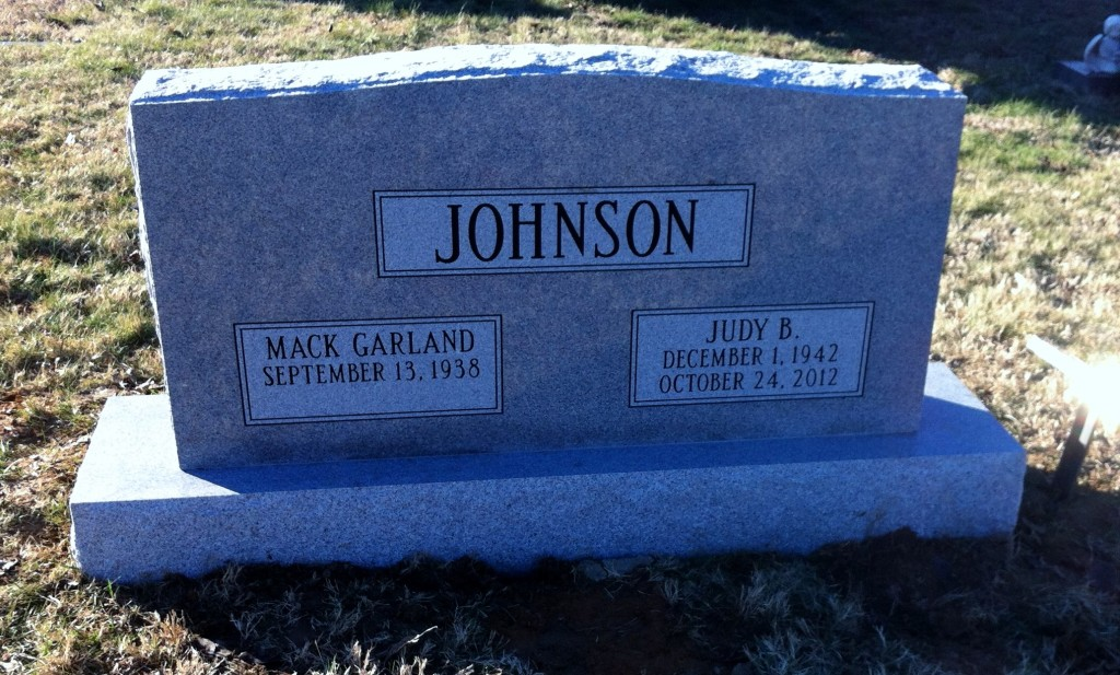 Headstone for Mack Garland and Judy Johnson