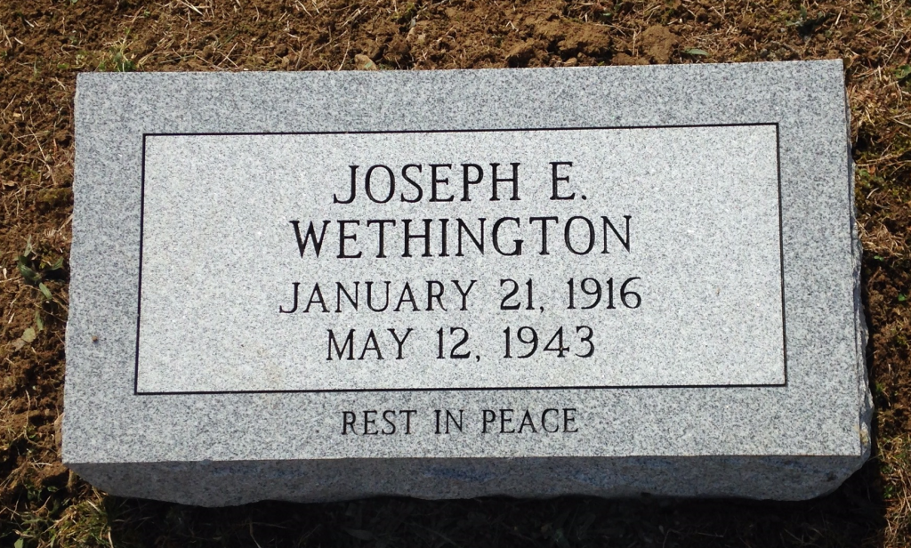 Bevel granite marker for Joseph E. Wethington