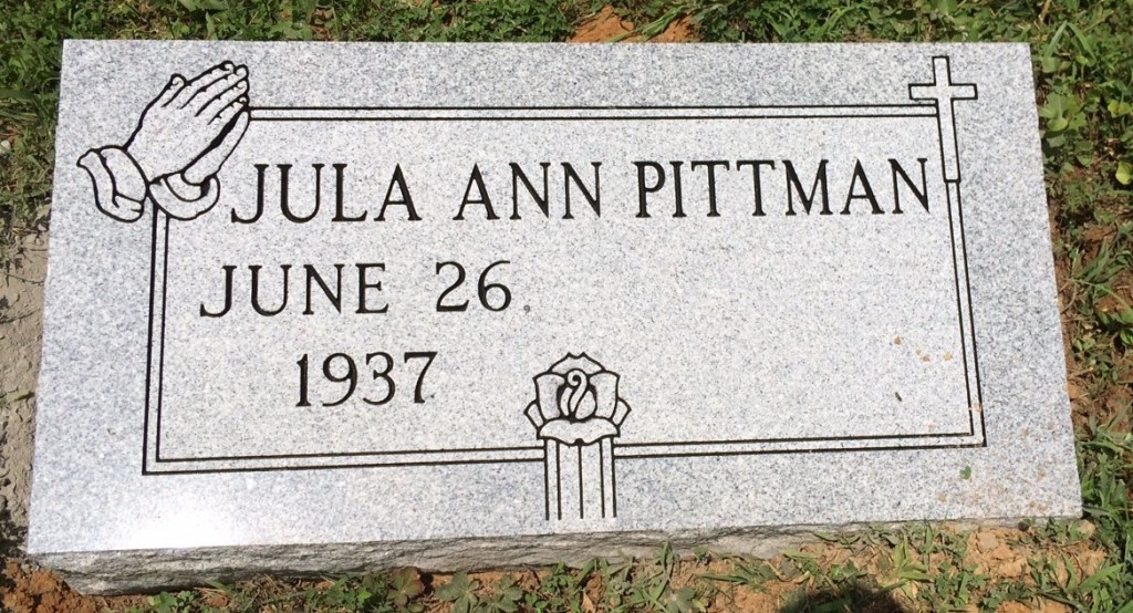 Bevel granite marker for Jula Ann Pittman