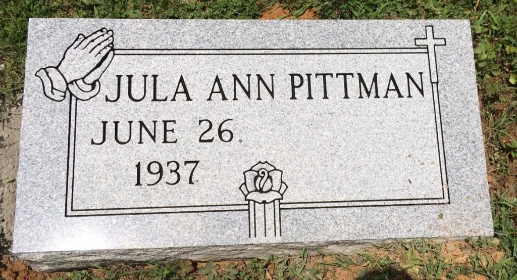 Bevel granite marker for Jula Ann Pittman