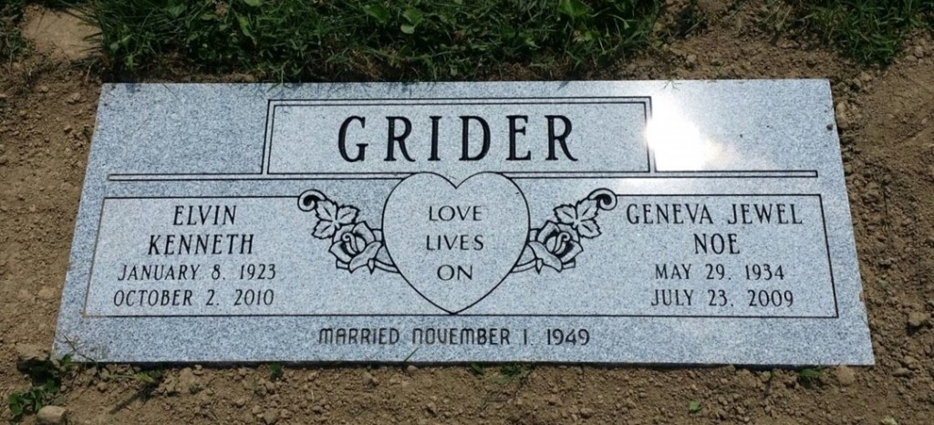 Double flat marker for Elvin and Geneva Grider