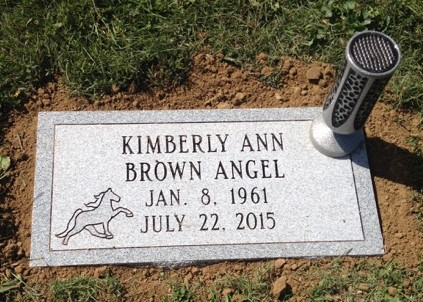 Flat granite marker and vase for Kim Angel