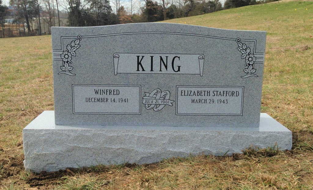 Headstone for Winfred and Elizabeth King