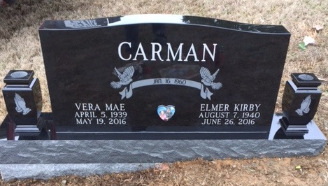 Headstone for Kirby and Vera Carman