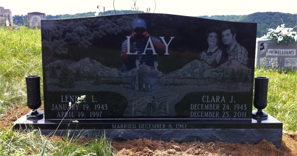 Headstone for Lennie and Clara Lay