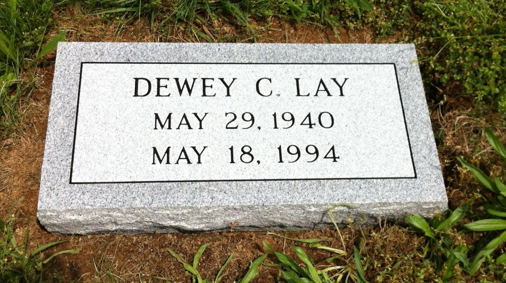 Flat granite marker for Dewey C. Lay