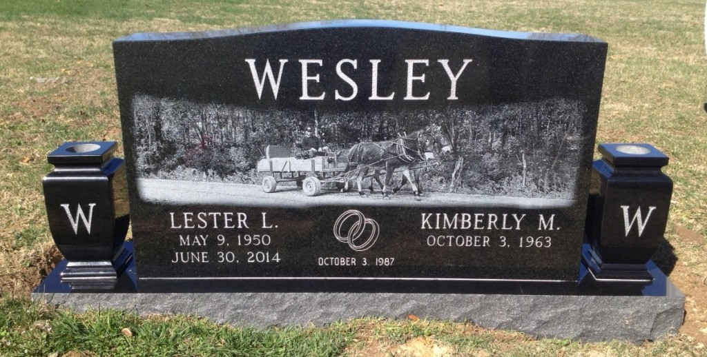 Headstone for Lester and Kimberly Wesley