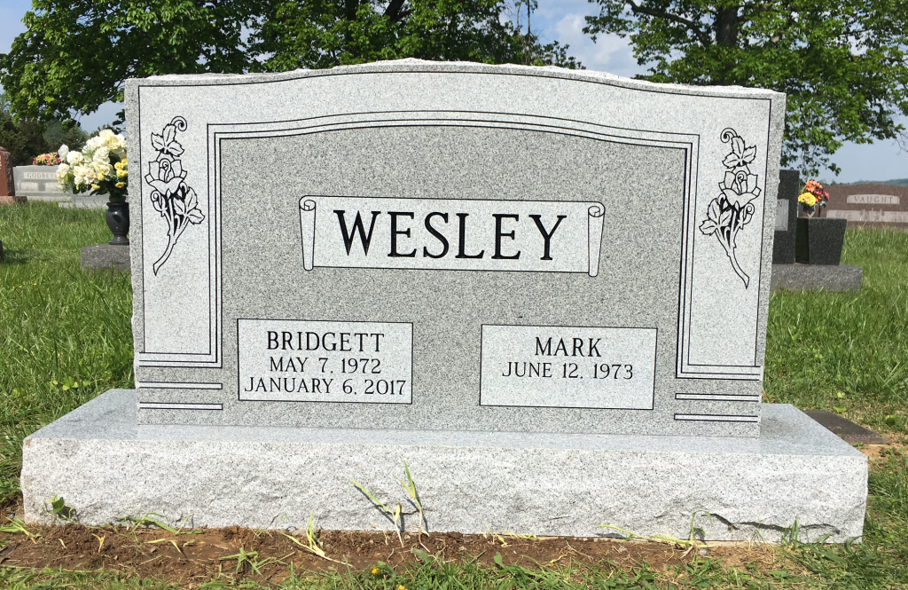 Headstone for Mark and Bridgett Wesley