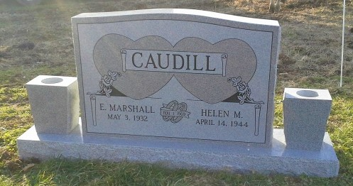 Headstone for Marshall and Helen Caudill