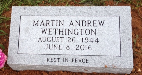 Bevel granite marker for Martin Andrew Wethington