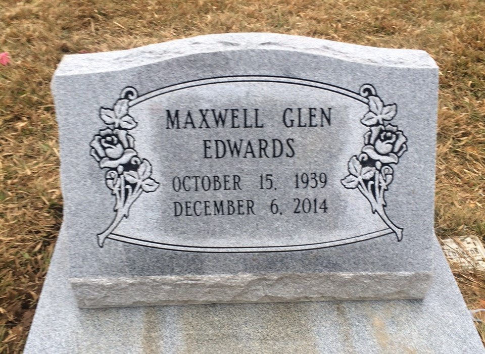 Granite slant marker and base for Maxwell Glen Edwards