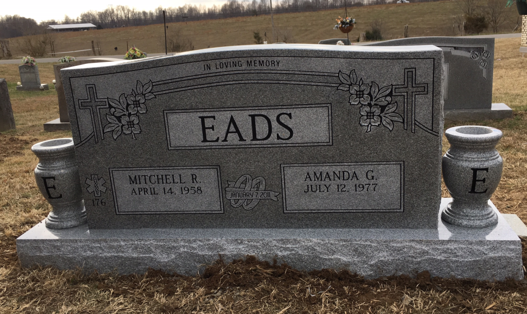 Headstone for Mitchell and Amanda Eads