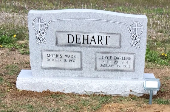 Headstone for Morris and Joyce DeHart