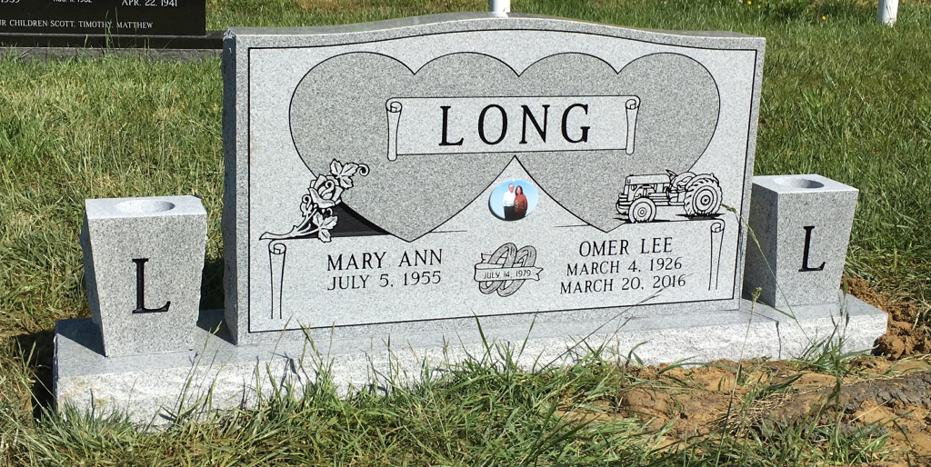 Headstone for Omer and Mary Long