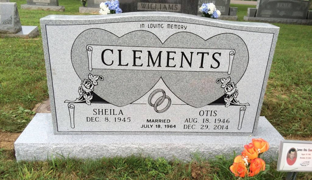 Headstone for Sheila and Otis Clements