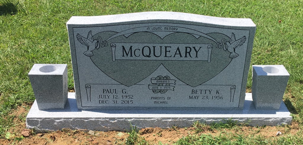 Headstone for Paul and Betty McQueary