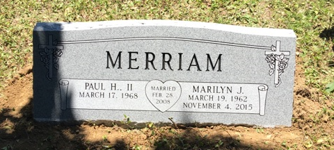 Double slant marker for Paul and Marilyn Merriam