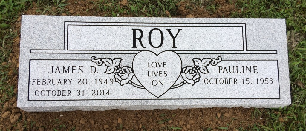 Double bevel marker for James and Pauline Roy