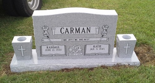 Headstone for Randall and Katie Carman