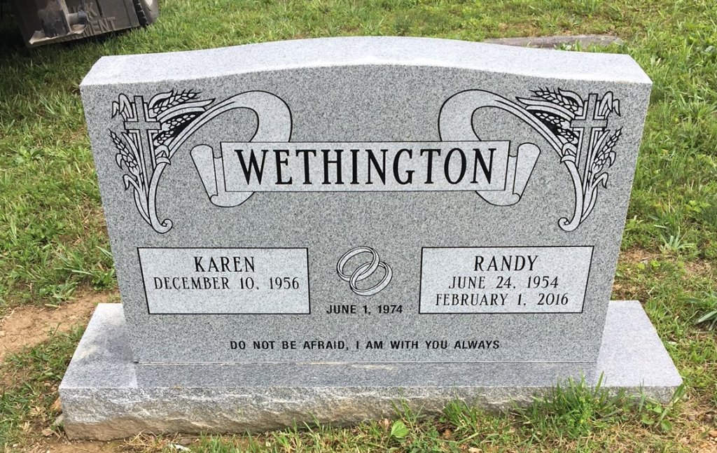Headstone for Randy and Karen Wethington