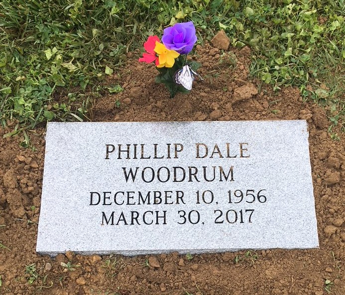 Flat granite marker for Phillip Woodrum