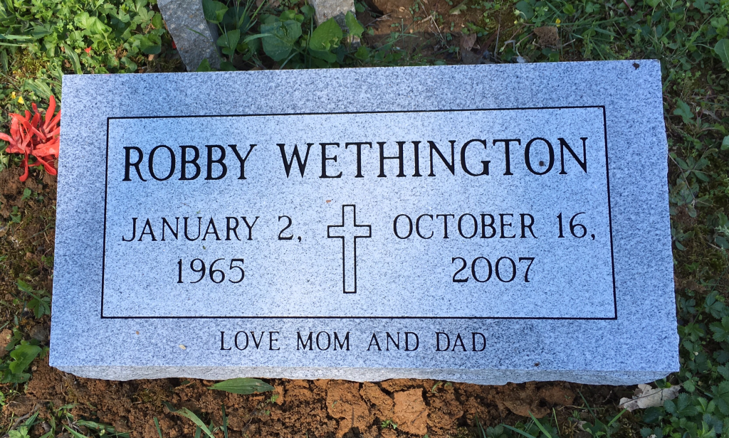 Bevel granite marker for Robby Wethington