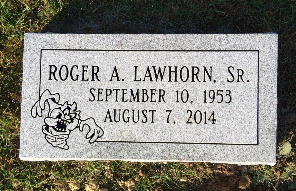 Bevel granite marker for Roger Lawhorn, Sr.