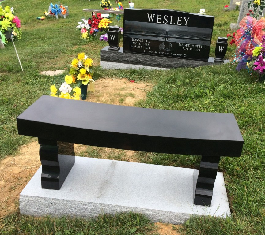 Bench and headstone for Ronnie Joe Maimie Wesley