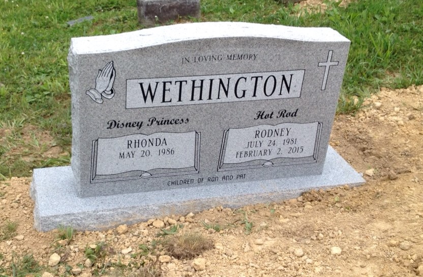 Headstone for Rodney and Rhonda Wethington