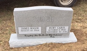 Headstone for Roger and Ruby Carol Leigh