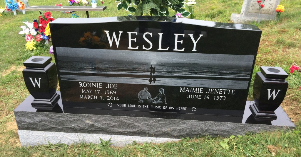 Headstone for Ronnie Joe and Maimie Wesley