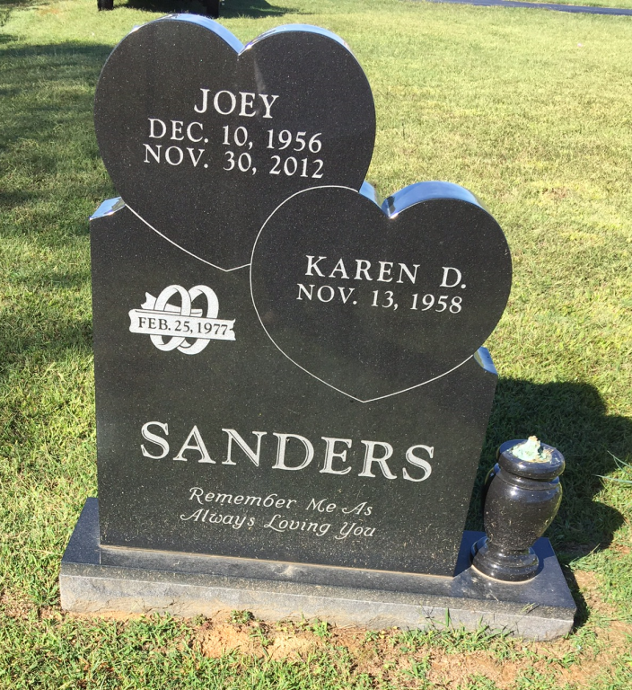 Headstone for Joey and Karen Sanders