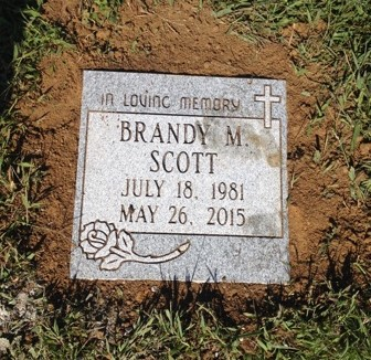 Flat granite marker for Brandy Scott