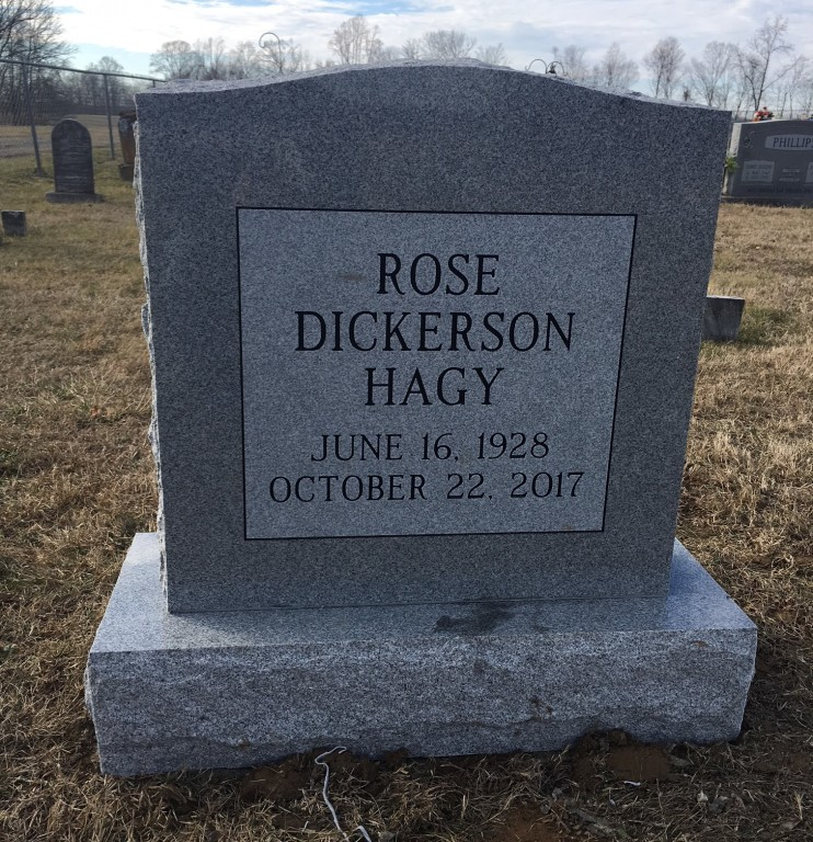 Headstone for Rose Dickerson Hagy