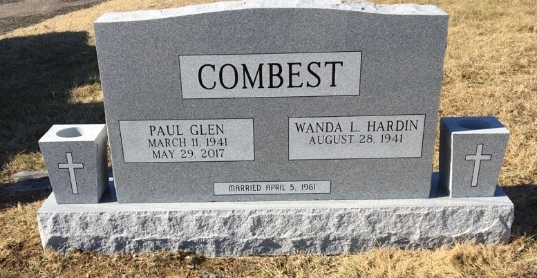 Headstone for Paul Glen and Wanda Combest