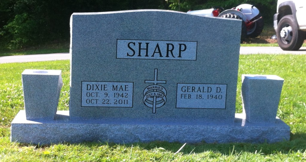 Headstone for Gerald and Dixie Sharp