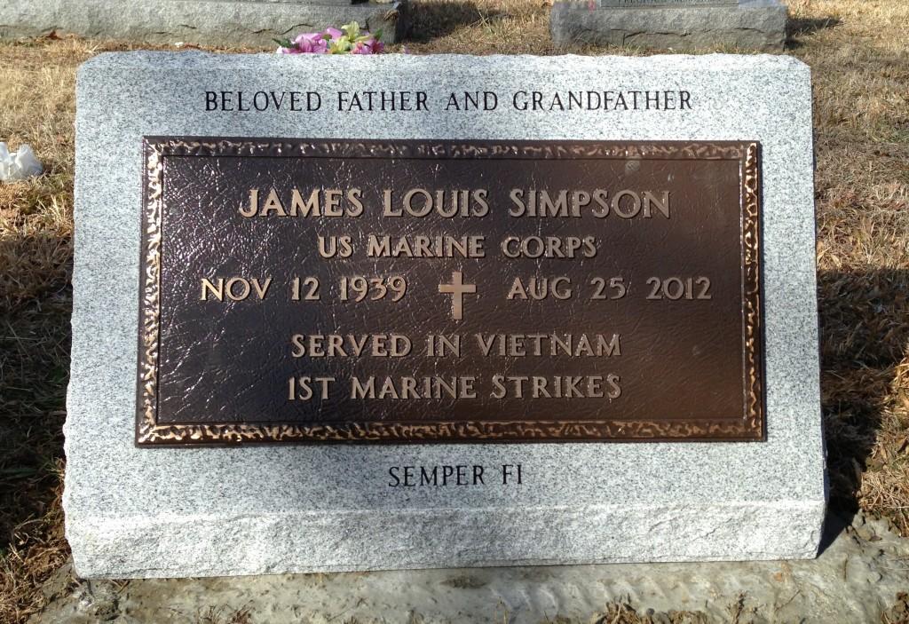 Slant marker with Veteran's bronze for James Louis Simpson