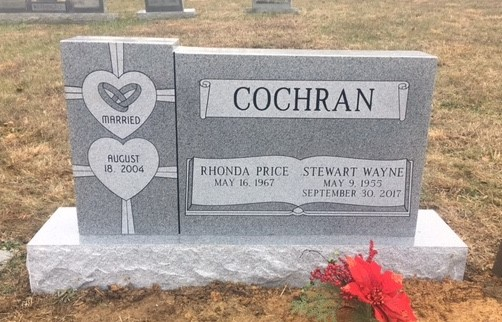 Headstone for Stewart and Rhonda Cochran