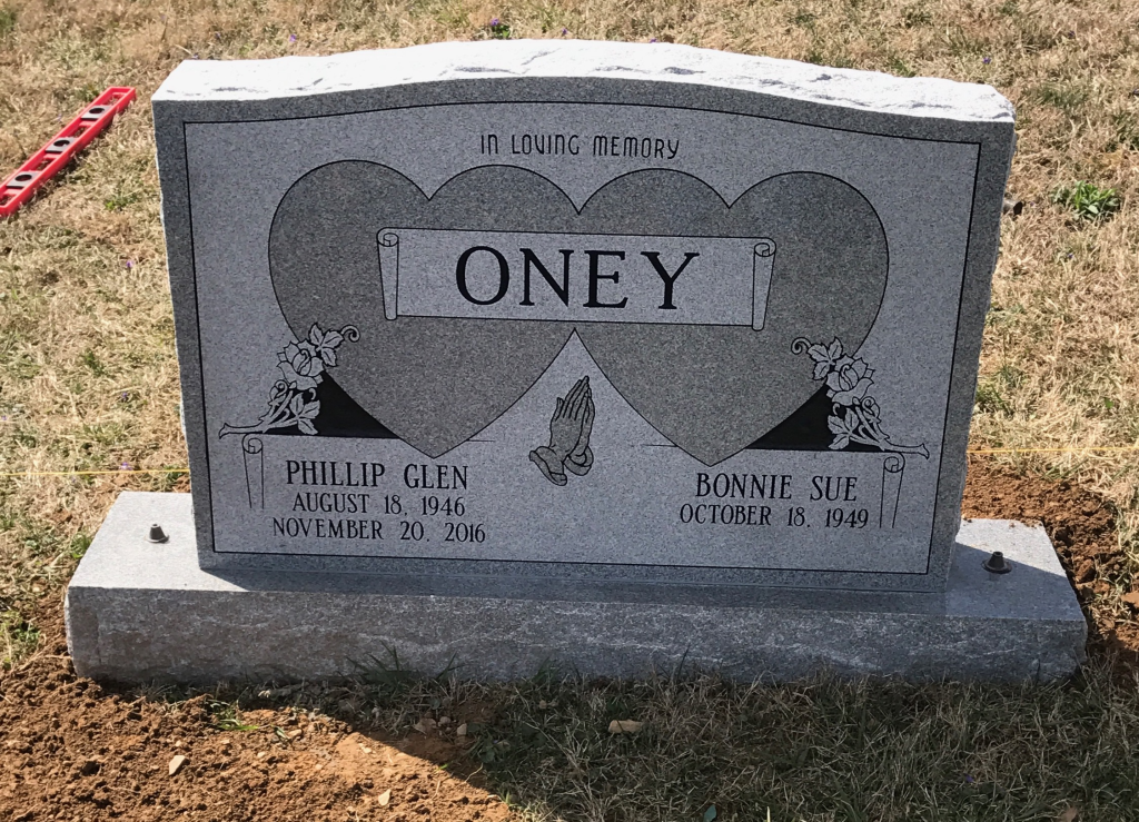 Headstone for Phil and Sue Oney