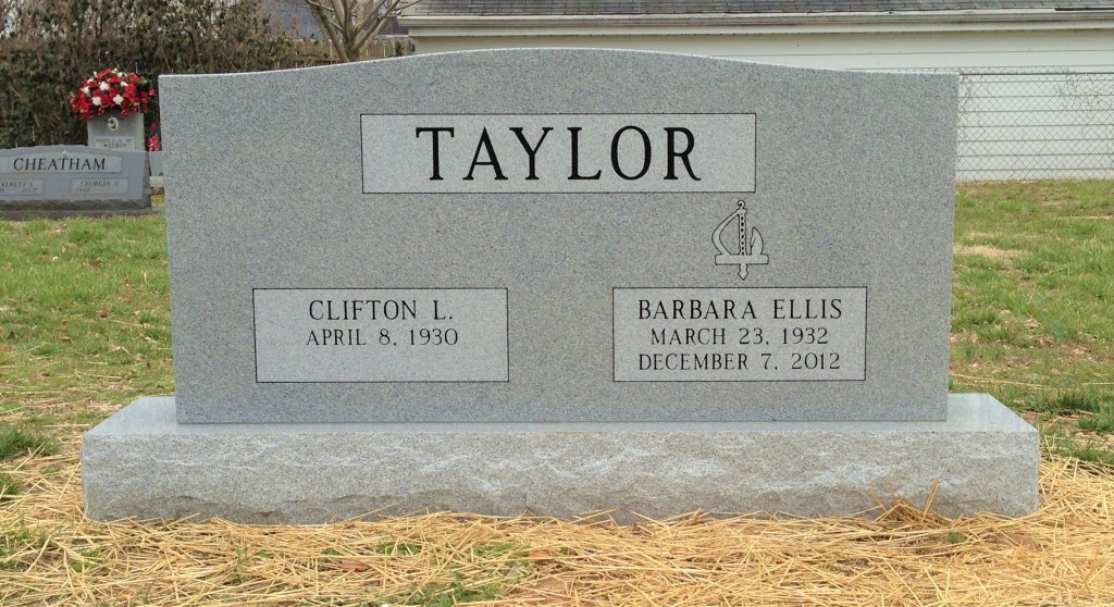 Headstone for Clifton and Barbara Taylor
