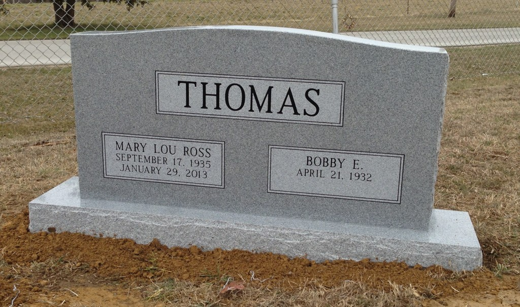 Headstone for Bobby and Mary Lou Thomas
